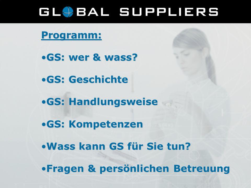 Programm: GS: wer & wass?GS: wer & wass? GS: GeschichteGS: Geschichte GS: HandlungsweiseGS: Handlungsweise GS: KompetenzenGS: Kompetenzen Wass kann GS
