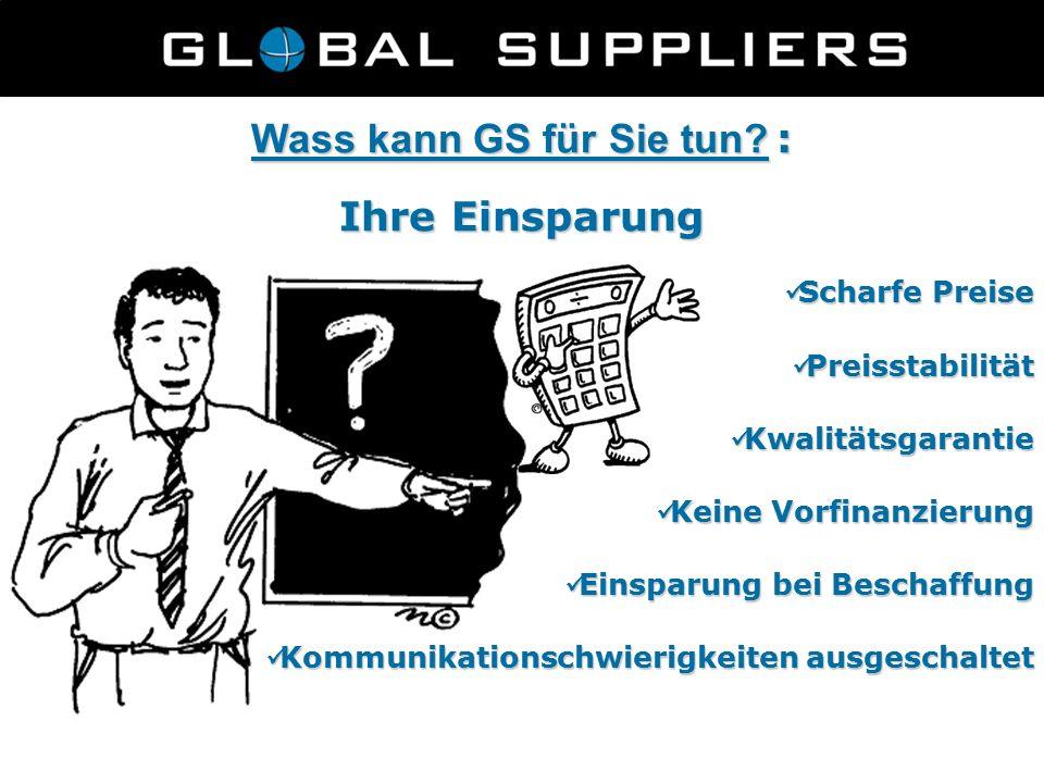 Wass kann GS für Sie tun? : Ihre Einsparung Scharfe Preise Scharfe Preise Preisstabilität Preisstabilität Kwalitätsgarantie Kwalitätsgarantie Keine Vo