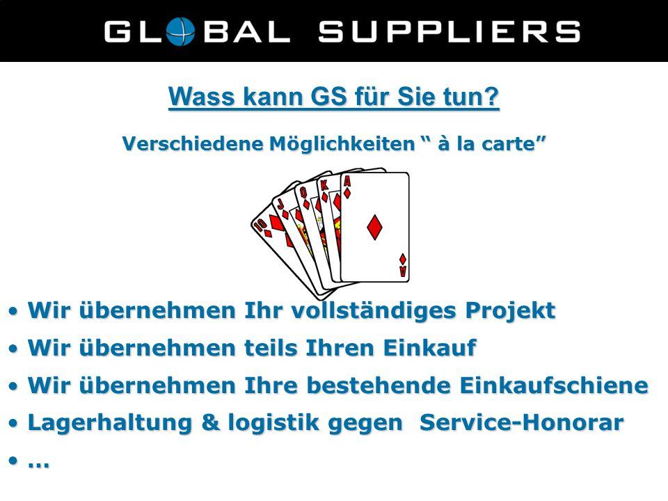 """Wass kann GS für Sie tun? Verschiedene Möglichkeiten """" à la carte"""" Wir übernehmen Ihr vollständiges Projekt Wir übernehmen Ihr vollständiges Projekt W"""