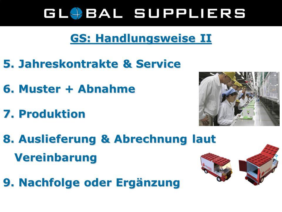 GS: Handlungsweise II 5. Jahreskontrakte & Service 6. Muster + Abnahme 7. Produktion 8. Auslieferung & Abrechnung laut Vereinbarung 9. Nachfolge oder