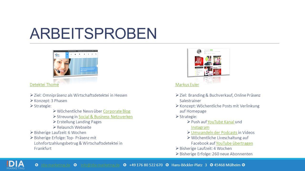 ARBEITSPROBEN Detektei Thome  Ziel: Omnipräsenz als Wirtschaftsdetektei in Hessen  Konzept: 3 Phasen  Strategie:  Wöchentliche News über Corporate