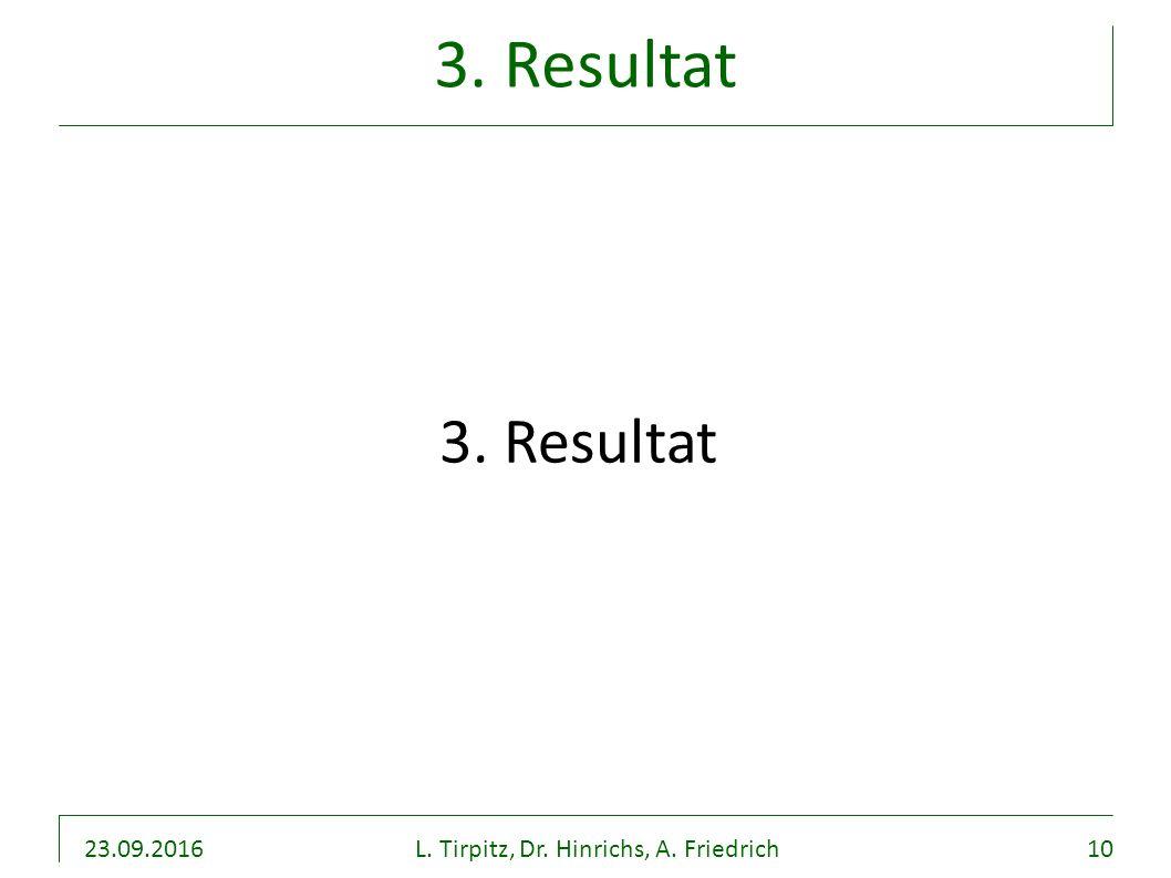 23.09.2016L. Tirpitz, Dr. Hinrichs, A. Friedrich10 3. Resultat