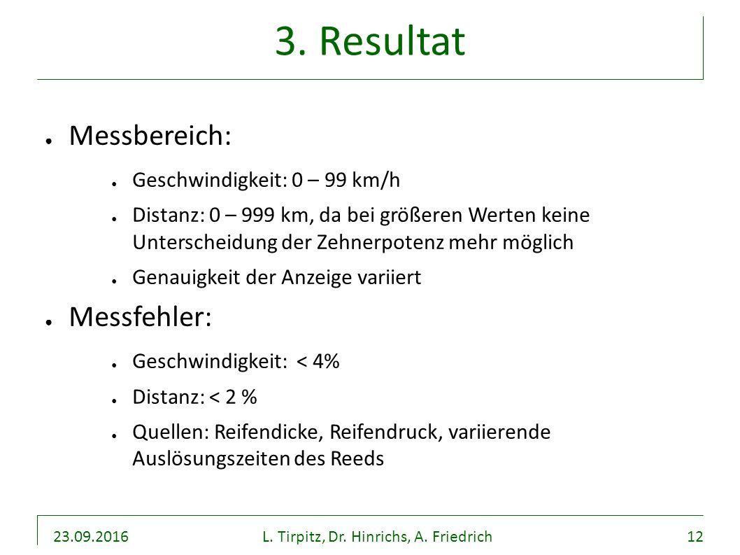 23.09.2016L. Tirpitz, Dr. Hinrichs, A. Friedrich12 3. Resultat ● Messbereich: ● Geschwindigkeit: 0 – 99 km/h ● Distanz: 0 – 999 km, da bei größeren We