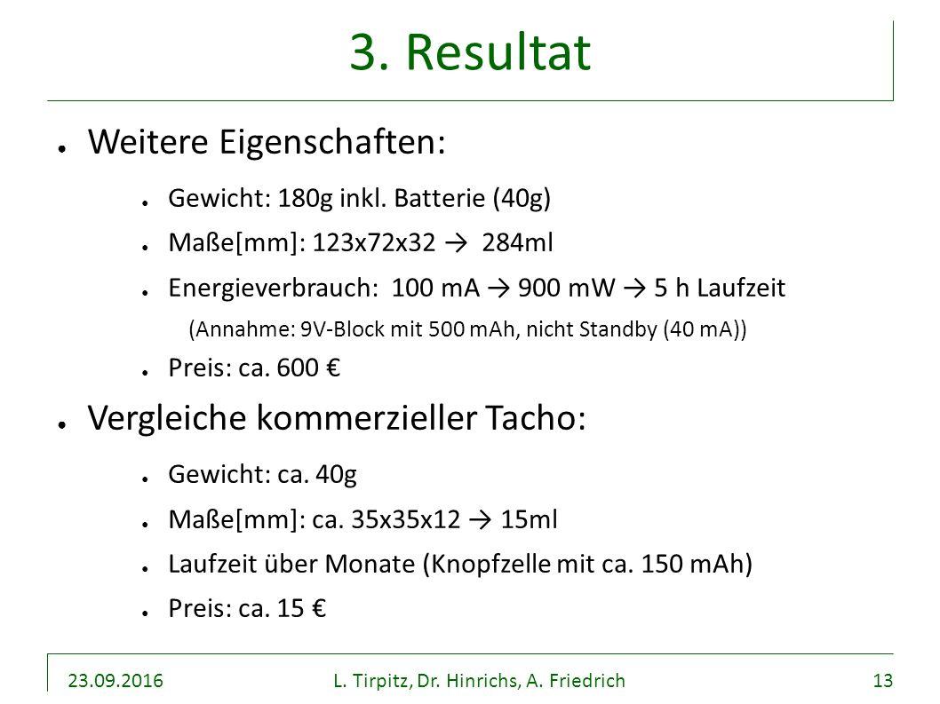23.09.2016L. Tirpitz, Dr. Hinrichs, A. Friedrich13 3. Resultat ● Weitere Eigenschaften: ● Gewicht: 180g inkl. Batterie (40g) ● Maße[mm]: 123x72x32 → 2