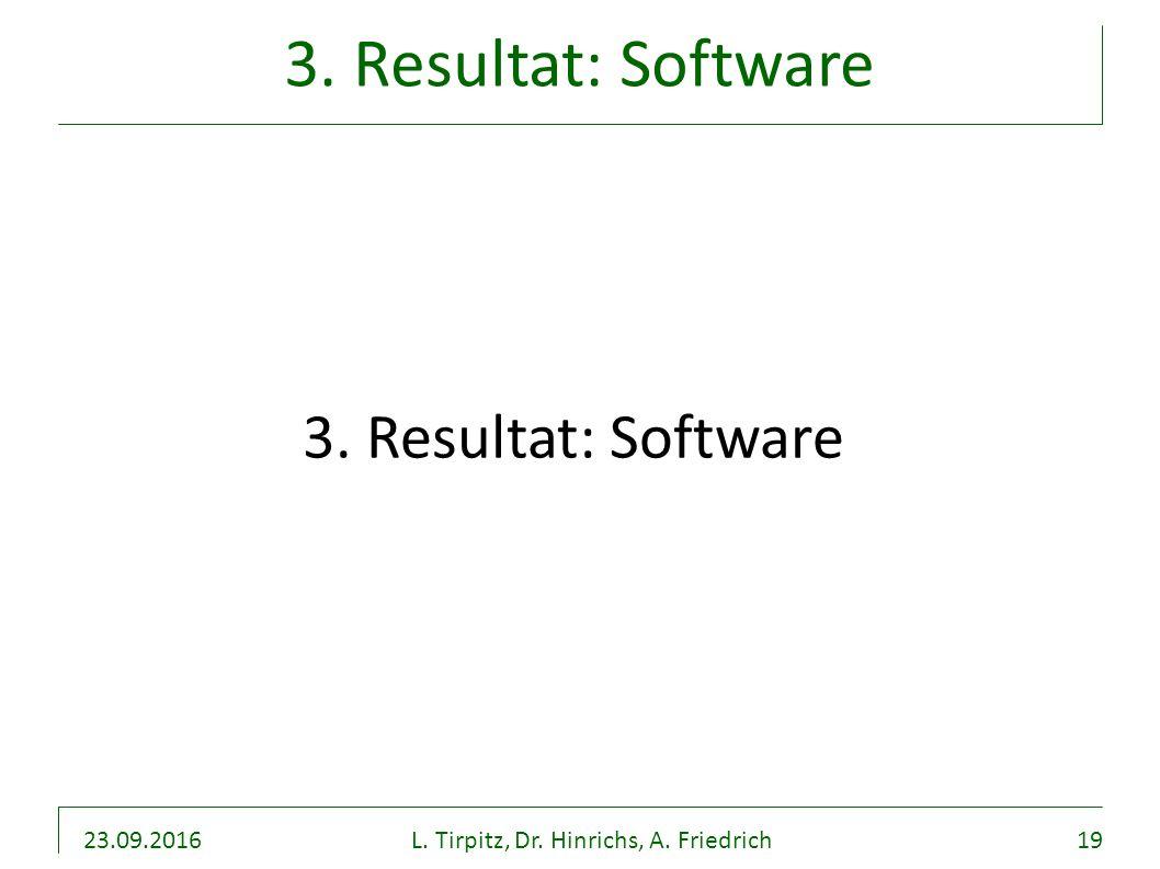 23.09.2016L. Tirpitz, Dr. Hinrichs, A. Friedrich19 3. Resultat: Software