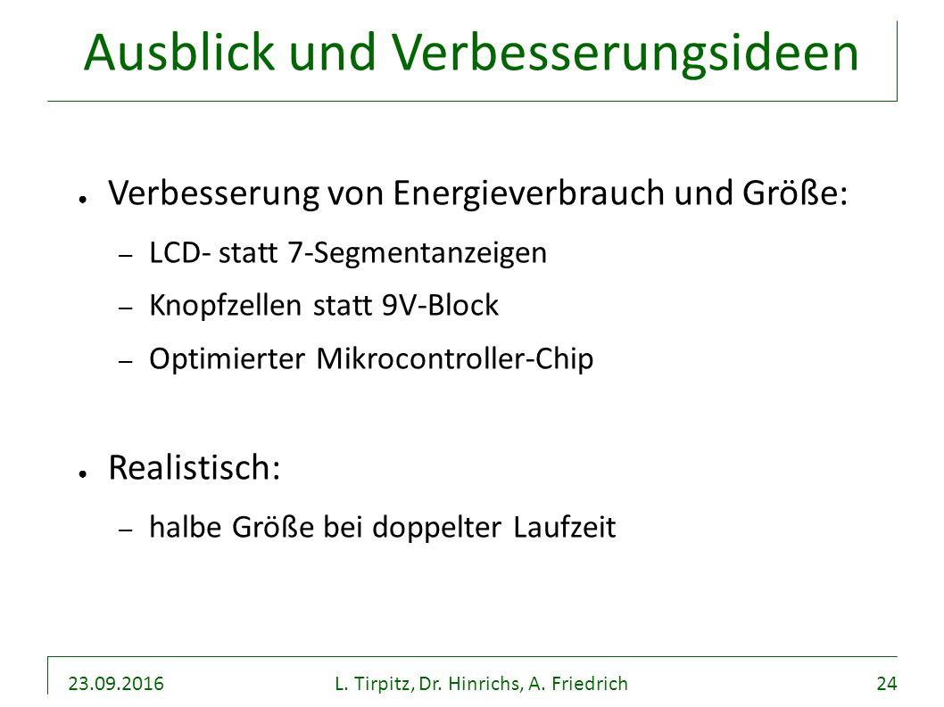 23.09.2016L. Tirpitz, Dr. Hinrichs, A. Friedrich24 Ausblick und Verbesserungsideen ● Verbesserung von Energieverbrauch und Größe: – LCD- statt 7-Segme