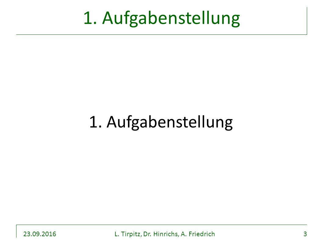 23.09.2016L. Tirpitz, Dr. Hinrichs, A. Friedrich3 1. Aufgabenstellung