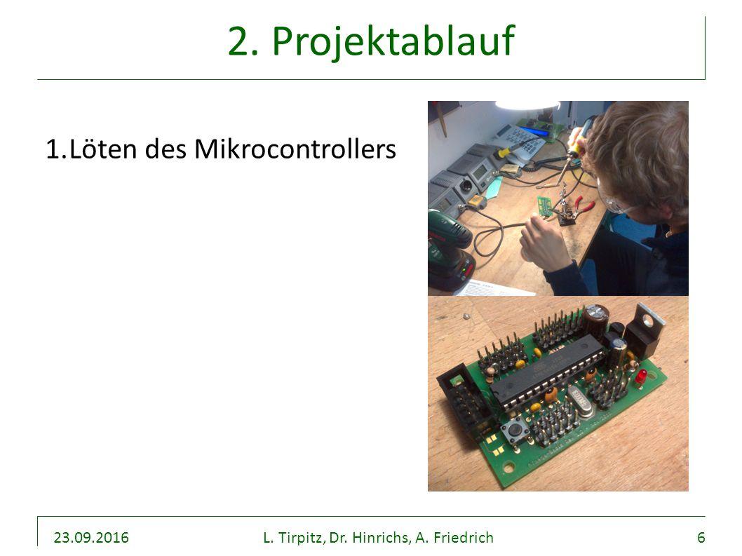 23.09.2016L. Tirpitz, Dr. Hinrichs, A. Friedrich6 2. Projektablauf 1.Löten des Mikrocontrollers