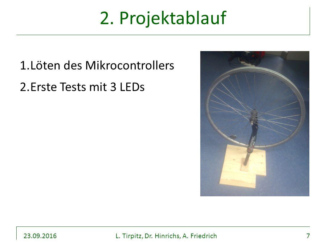 23.09.2016L. Tirpitz, Dr. Hinrichs, A. Friedrich7 2. Projektablauf 1.Löten des Mikrocontrollers 2.Erste Tests mit 3 LEDs