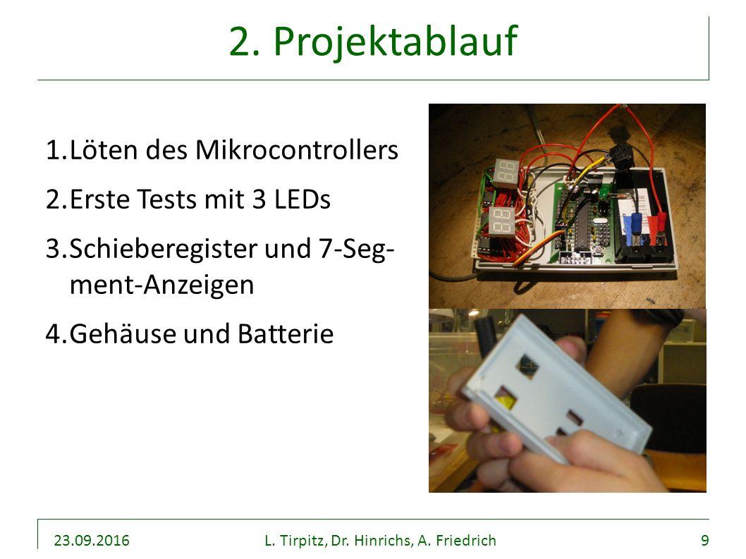 23.09.2016L. Tirpitz, Dr. Hinrichs, A. Friedrich9 2. Projektablauf 1.Löten des Mikrocontrollers 2.Erste Tests mit 3 LEDs 3.Schieberegister und 7-Seg-
