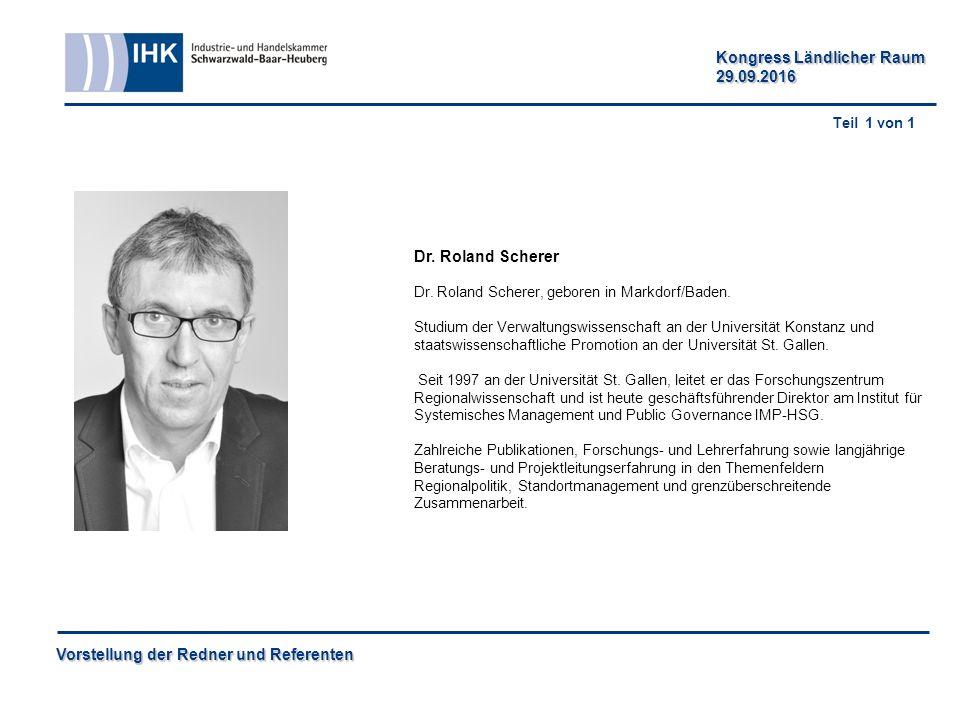 Vorstellung der Redner und Referenten Kongress Ländlicher Raum 29.09.2016 Dr.