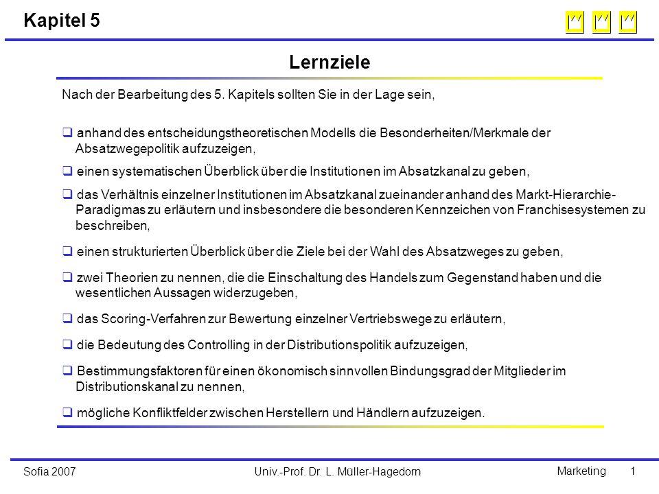 Univ.-Prof. Dr. L. Müller-HagedornSofia 2007Marketing 1 Kapitel 5 Nach der Bearbeitung des 5.