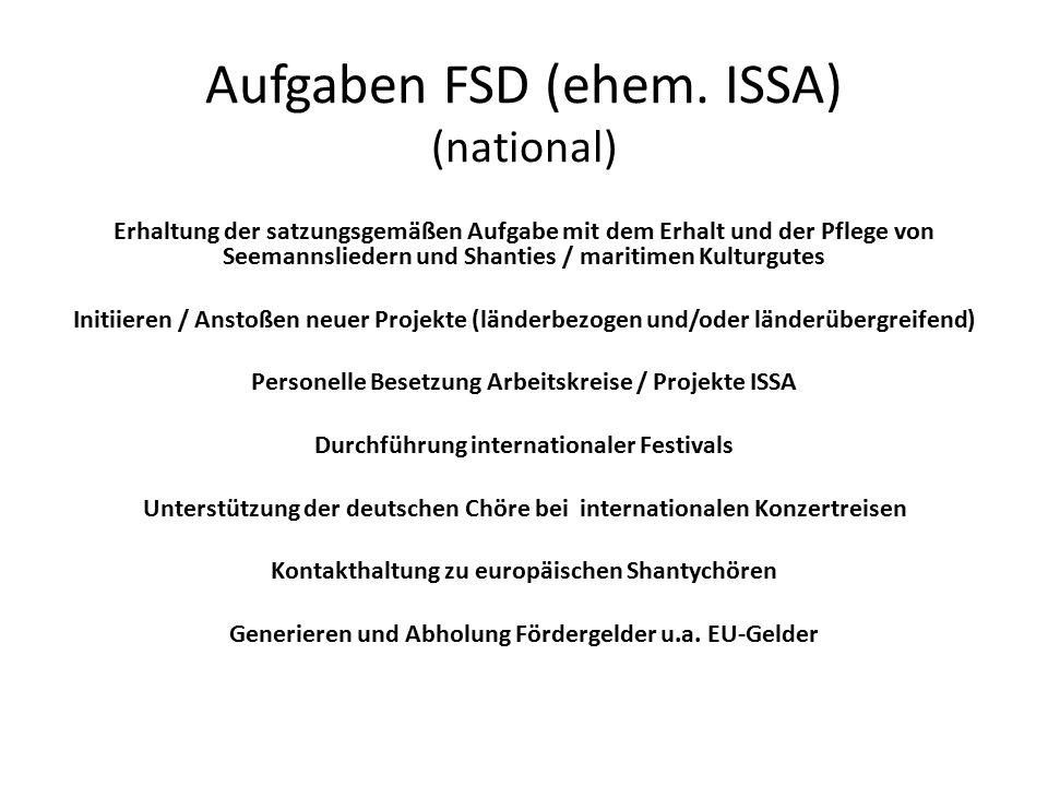 Aufgaben FSD (ehem. ISSA) (national) Erhaltung der satzungsgemäßen Aufgabe mit dem Erhalt und der Pflege von Seemannsliedern und Shanties / maritimen