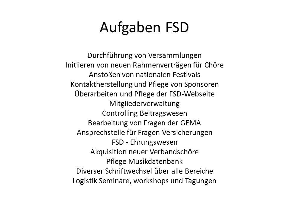 Aufgaben FSD Durchführung von Versammlungen Initiieren von neuen Rahmenverträgen für Chöre Anstoßen von nationalen Festivals Kontaktherstellung und Pf