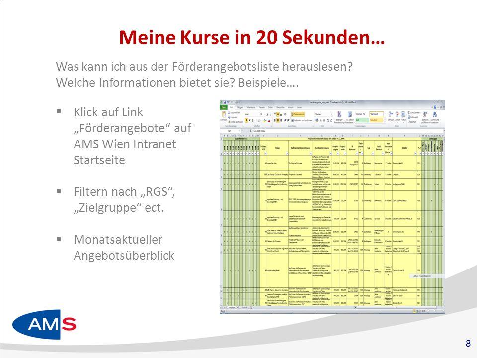 """8 Meine Kurse in 20 Sekunden…  Klick auf Link """"Förderangebote auf AMS Wien Intranet Startseite  Filtern nach """"RGS , """"Zielgruppe ect."""