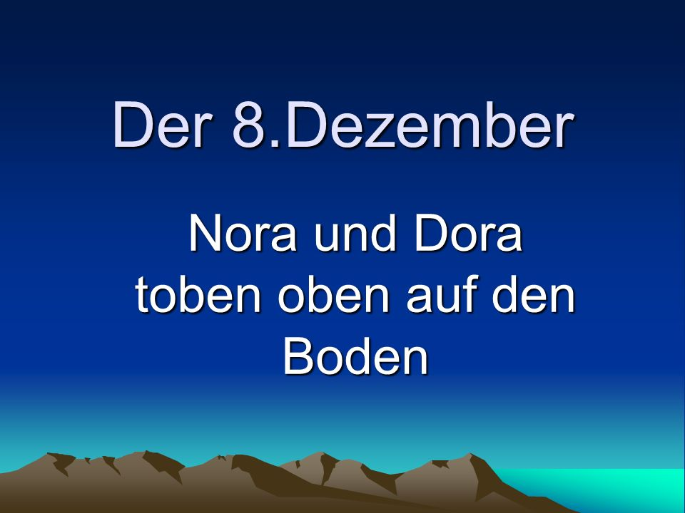 Der 8.Dezember Nora und Dora toben oben auf den Boden