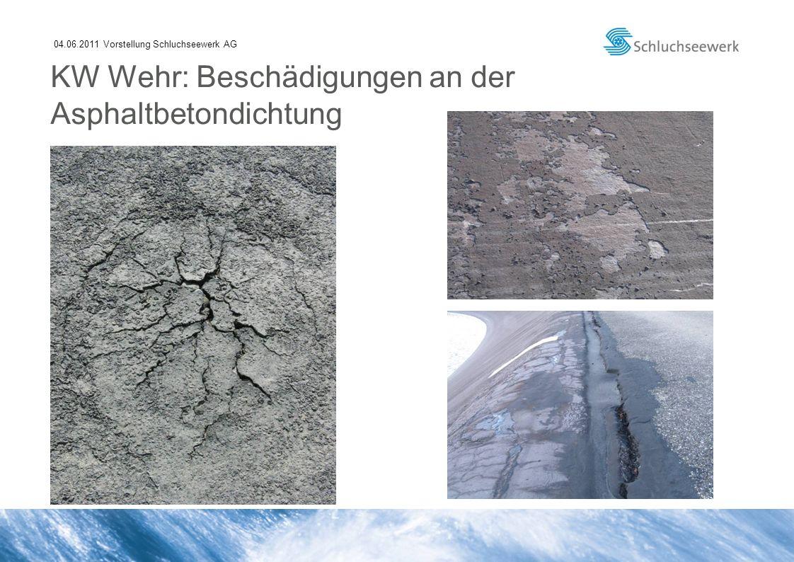 04.06.2011 Vorstellung Schluchseewerk AG KW Wehr: Beschädigungen an der Asphaltbetondichtung
