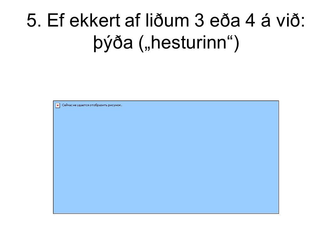 """5. Ef ekkert af liðum 3 eða 4 á við: þýða (""""hesturinn )"""