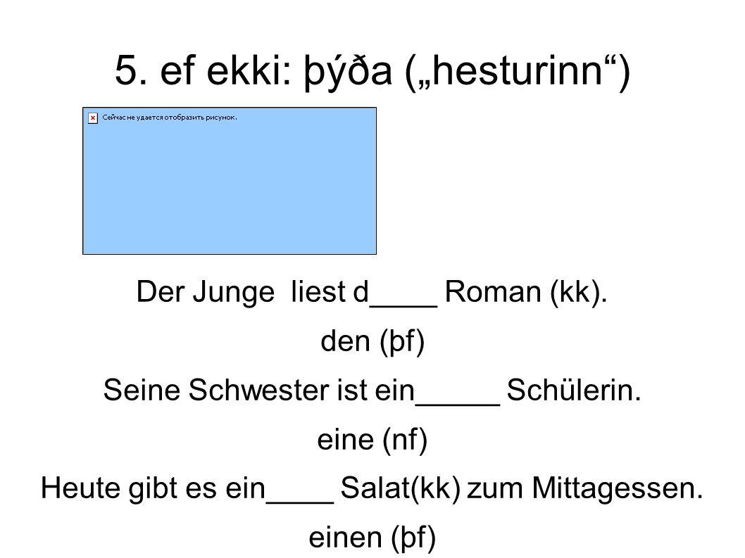 """5. ef ekki: þýða (""""hesturinn ) Der Junge liest d____ Roman (kk)."""