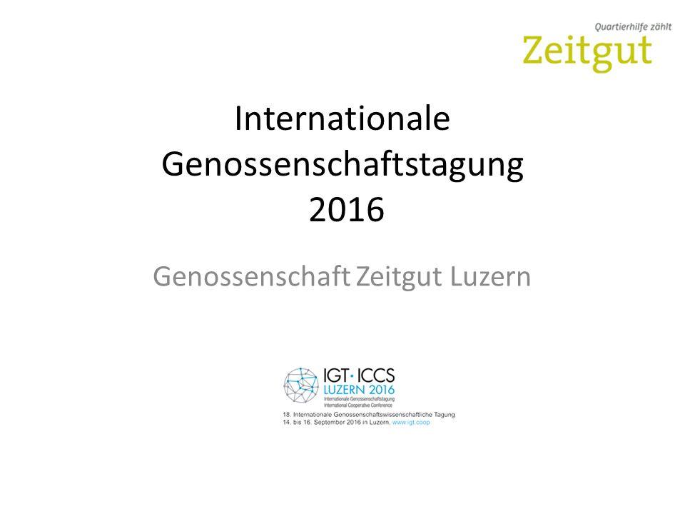 Internationale Genossenschaftstagung 2016 Genossenschaft Zeitgut Luzern