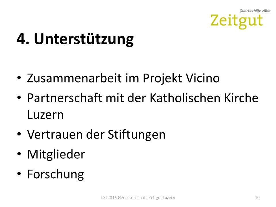 4. Unterstützung Zusammenarbeit im Projekt Vicino Partnerschaft mit der Katholischen Kirche Luzern Vertrauen der Stiftungen Mitglieder Forschung IGT20