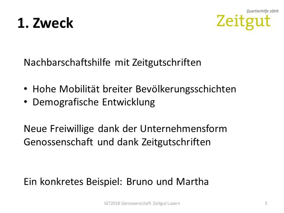 1. Zweck IGT2016 Genossenschaft Zeitgut Luzern3 Nachbarschaftshilfe mit Zeitgutschriften Hohe Mobilität breiter Bevölkerungsschichten Demografische En