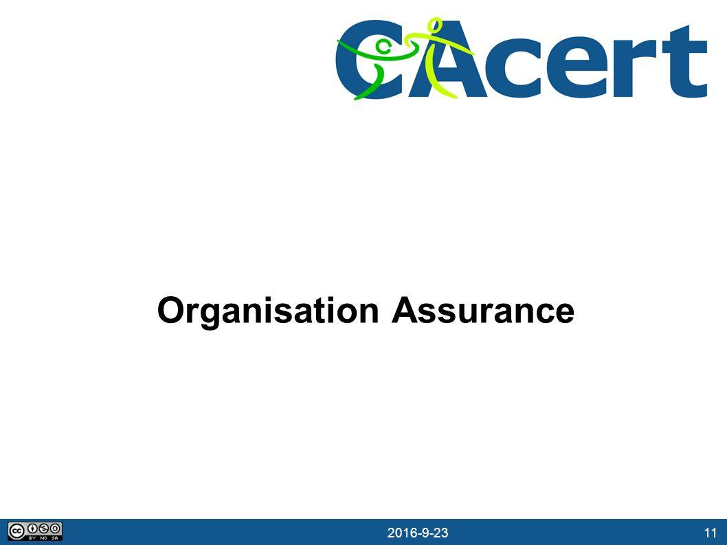 11 23.09.2016 Organisation Assurance