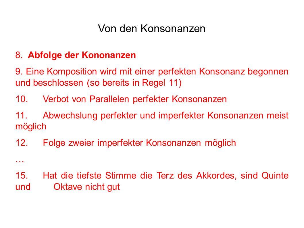 Von den Konsonanzen 8. Abfolge der Kononanzen 9.