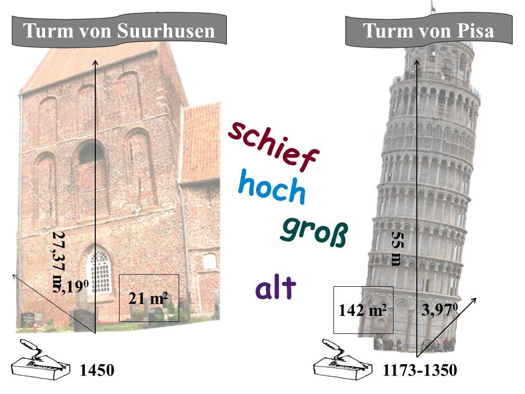alt hoch schief groß 27,37 m 55 m 5,19 0 3,97 0 1450 1173-1350 Turm von SuurhusenTurm von Pisa 21 m 2 142 m 2