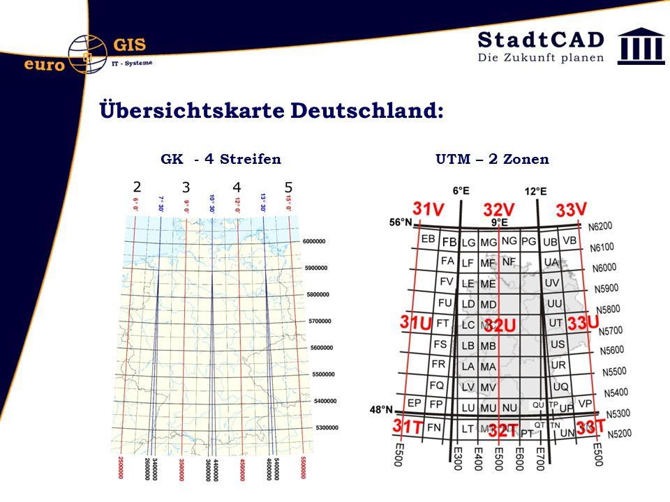 Übersichtskarte Deutschland: GK - 4 Streifen UTM – 2 Zonen
