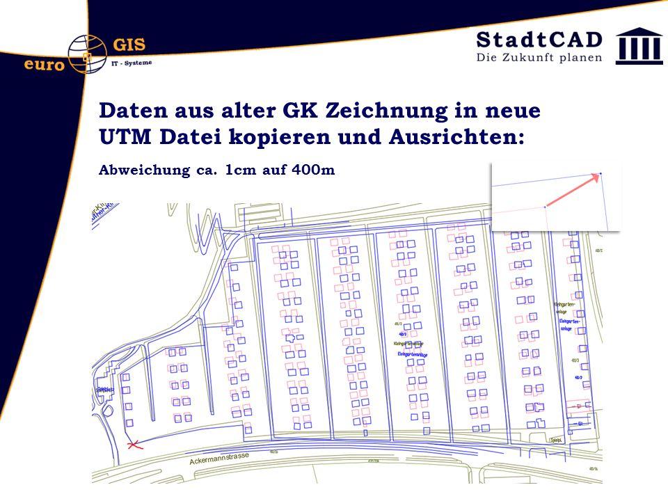 Daten aus alter GK Zeichnung in neue UTM Datei kopieren und Ausrichten: Abweichung ca. 1cm auf 400m