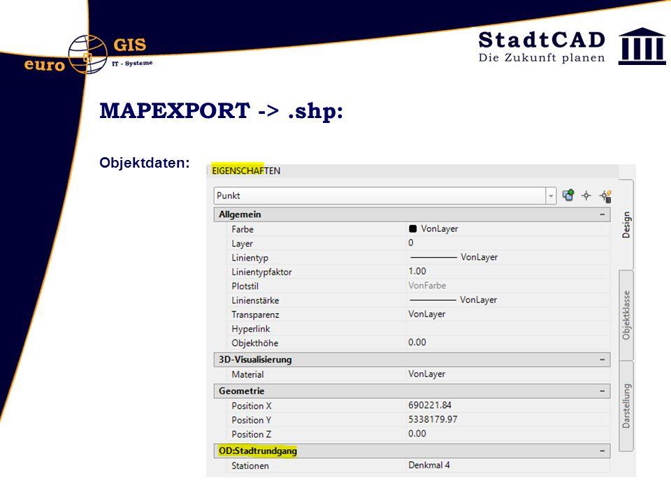 MAPEXPORT ->.shp: Objektdaten: