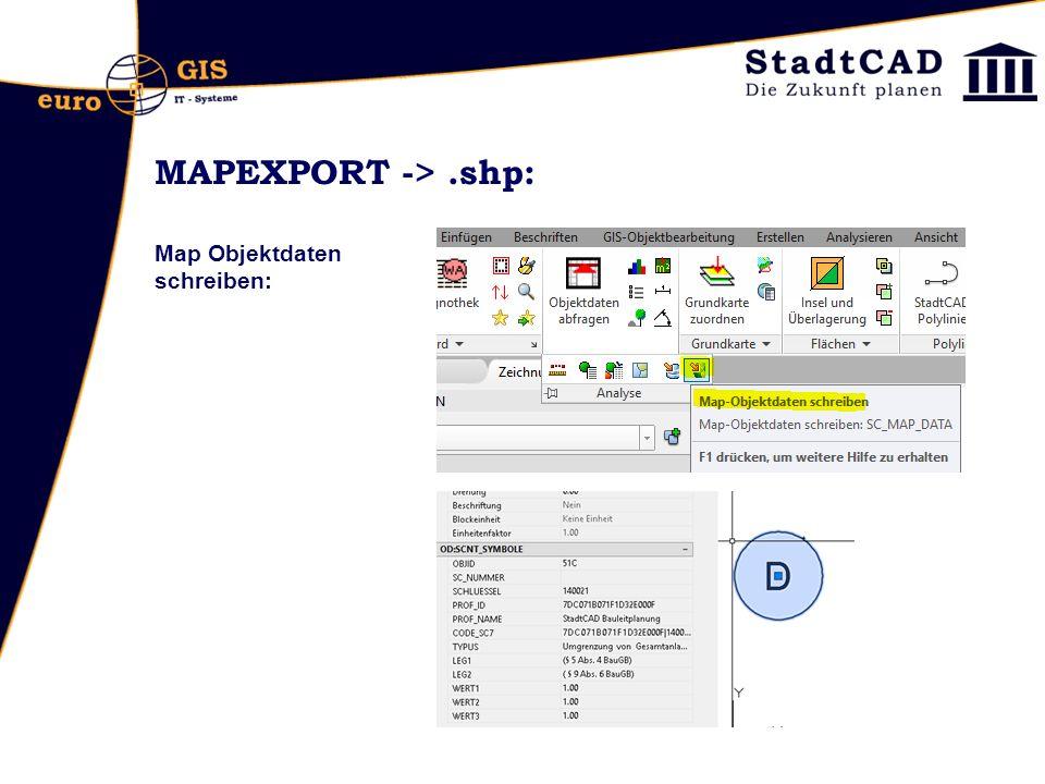 MAPEXPORT ->.shp: Map Objektdaten schreiben: