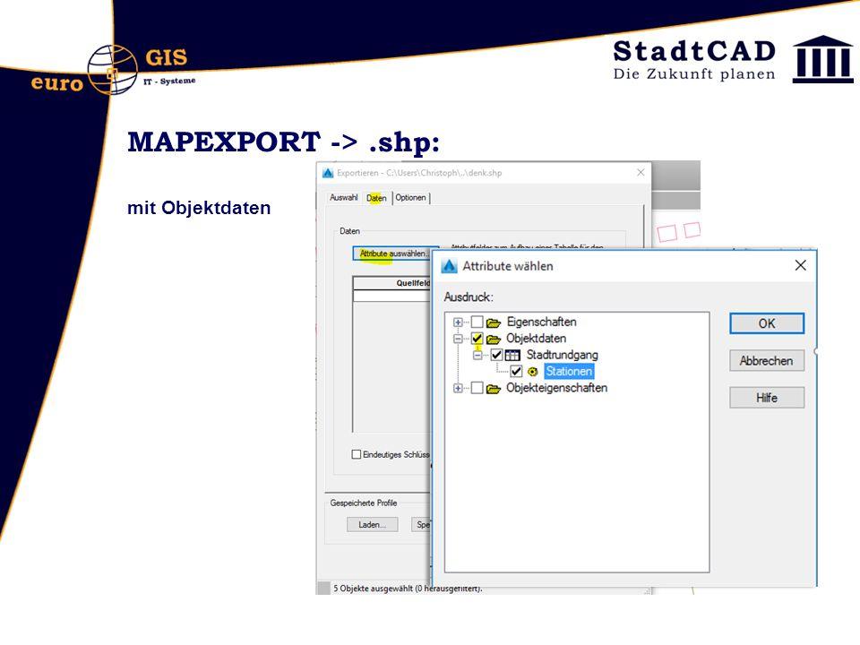 MAPEXPORT ->.shp: mit Objektdaten