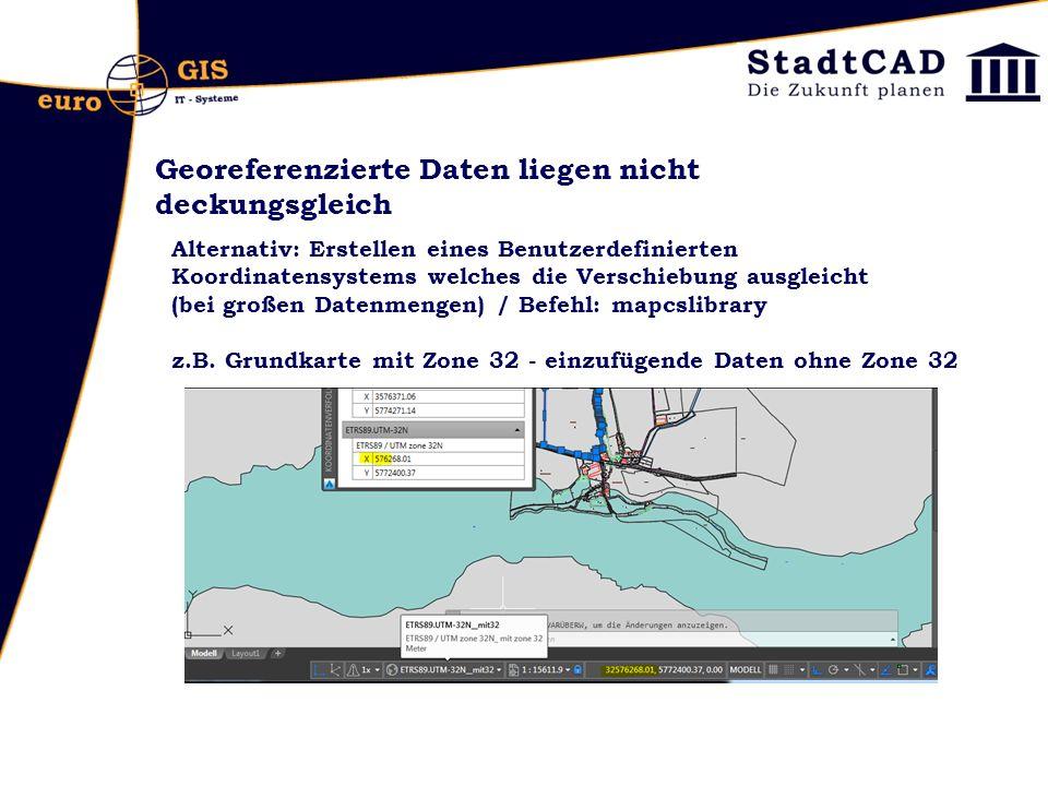 Georeferenzierte Daten liegen nicht deckungsgleich Alternativ: Erstellen eines Benutzerdefinierten Koordinatensystems welches die Verschiebung ausgleicht (bei großen Datenmengen) / Befehl: mapcslibrary z.B.