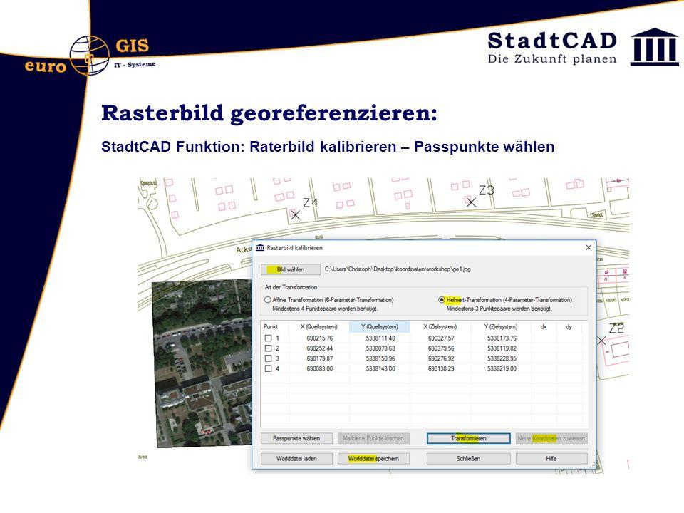 Rasterbild georeferenzieren: StadtCAD Funktion: Raterbild kalibrieren – Passpunkte wählen