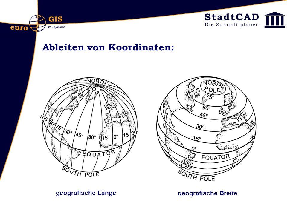 Ableiten von Koordinaten: - WMS und WFS-Dienste laden geografische Breite geografische Länge