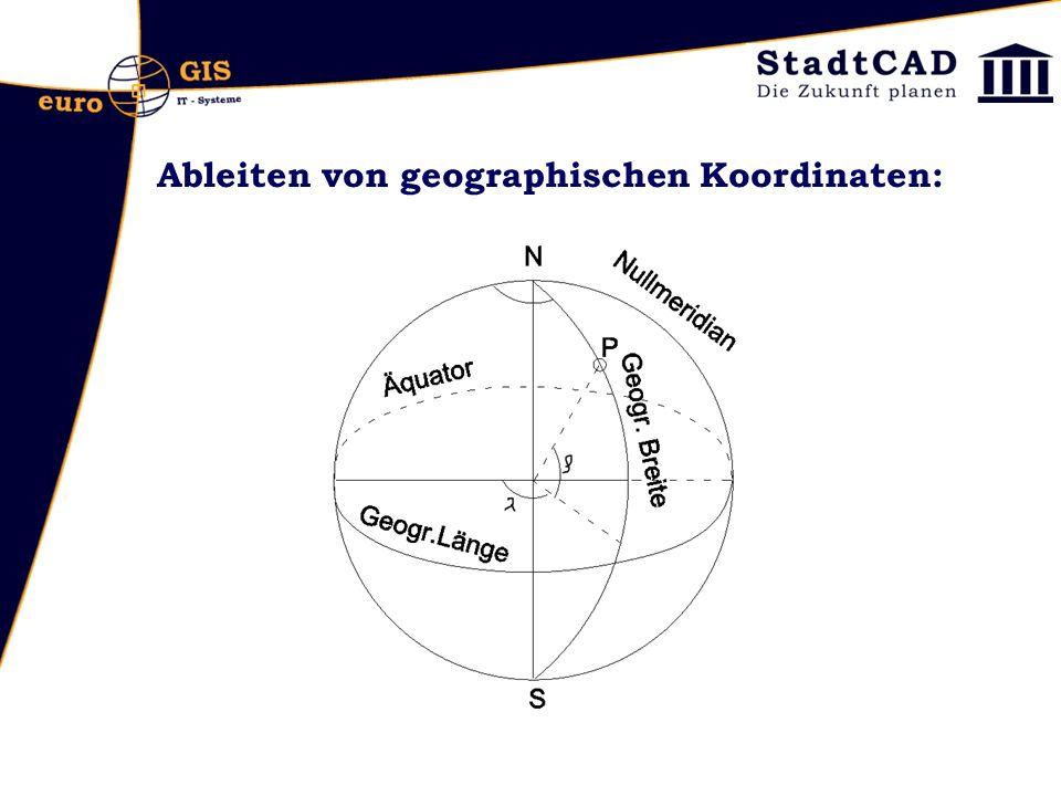 Herstellung einer Karte und Ableiten von Koordinaten: Geoid und Elypsoid