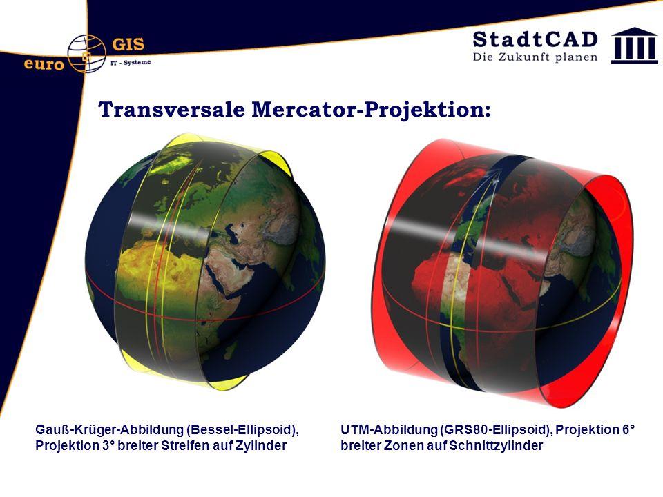 Transversale Mercator-Projektion: Gauß-KrügerUTM Gauß-Krüger-Abbildung (Bessel-Ellipsoid), Projektion 3° breiter Streifen auf Zylinder UTM-Abbildung (GRS80-Ellipsoid), Projektion 6° breiter Zonen auf Schnittzylinder