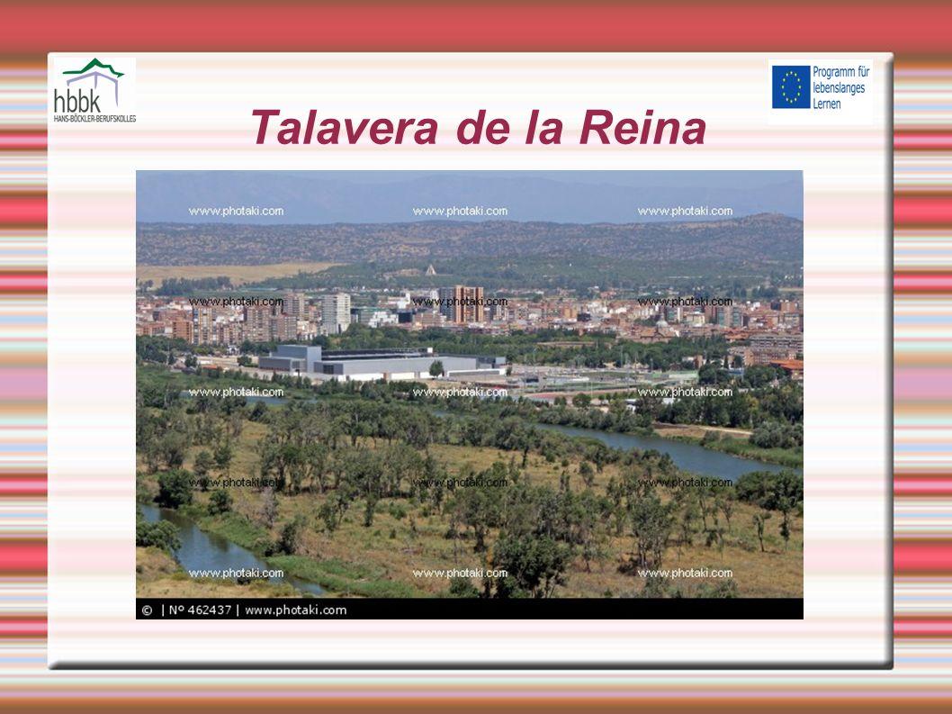 Einleitung Eine spanische Kleinstadt in der Provinz Toledo Liegt im Westen der autonomen Gemeinschaft Kastilien-La Mancha Besitzt rund 88.800 Einwohner Ist ein wichtiges Handels-und Verarbeitungszentrum Textilindustrie,Maschinenbau und Lebensmittelproduktion sind wichtigste Wirtschaftszweige Wurde bekannt durch Kunsthandwerke ( Strickereien, Keramik) Weltberühmte Talaverakeramik wird wegen ihrer hohen Qualität sehr geschätzt