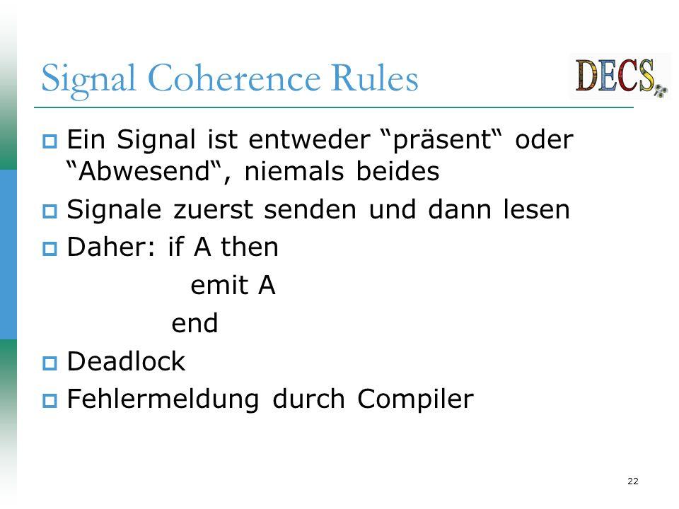 22 Signal Coherence Rules  Ein Signal ist entweder präsent oder Abwesend , niemals beides  Signale zuerst senden und dann lesen  Daher: if A then emit A end  Deadlock  Fehlermeldung durch Compiler