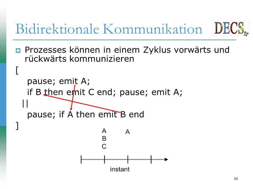 26 Bidirektionale Kommunikation  Prozesses können in einem Zyklus vorwärts und rückwärts kommunizieren [ pause; emit A; if B then emit C end; pause; emit A; || pause; if A then emit B end ]
