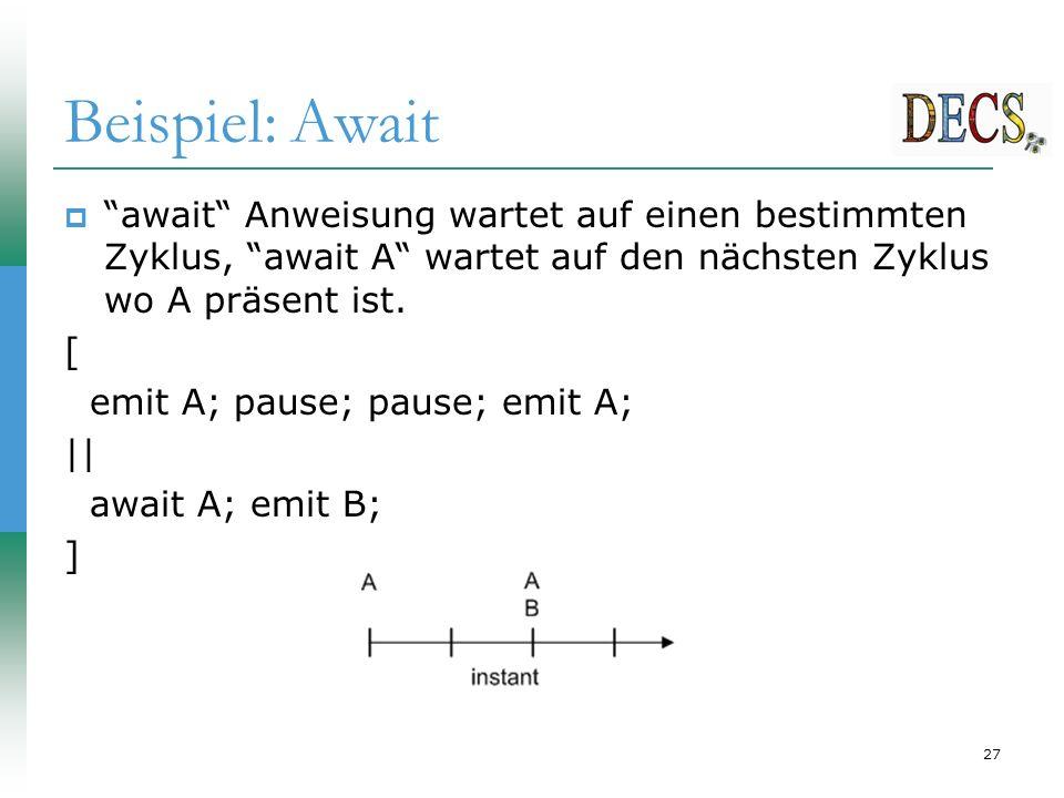 27 Beispiel: Await  await Anweisung wartet auf einen bestimmten Zyklus, await A wartet auf den nächsten Zyklus wo A präsent ist.