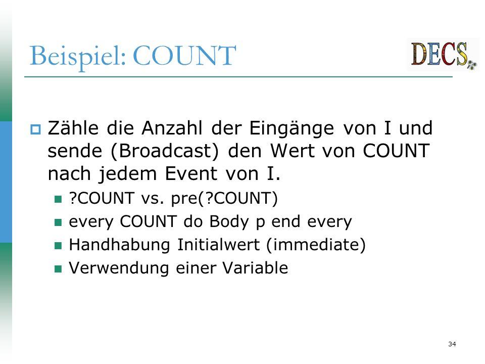34 Beispiel: COUNT  Zähle die Anzahl der Eingänge von I und sende (Broadcast) den Wert von COUNT nach jedem Event von I.