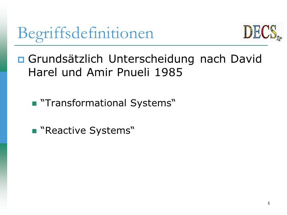 6 Begriffsdefinitionen  Unterscheidung bei Synchroner Programmierung Transformational Systems Interactive Systms Reactive Systems