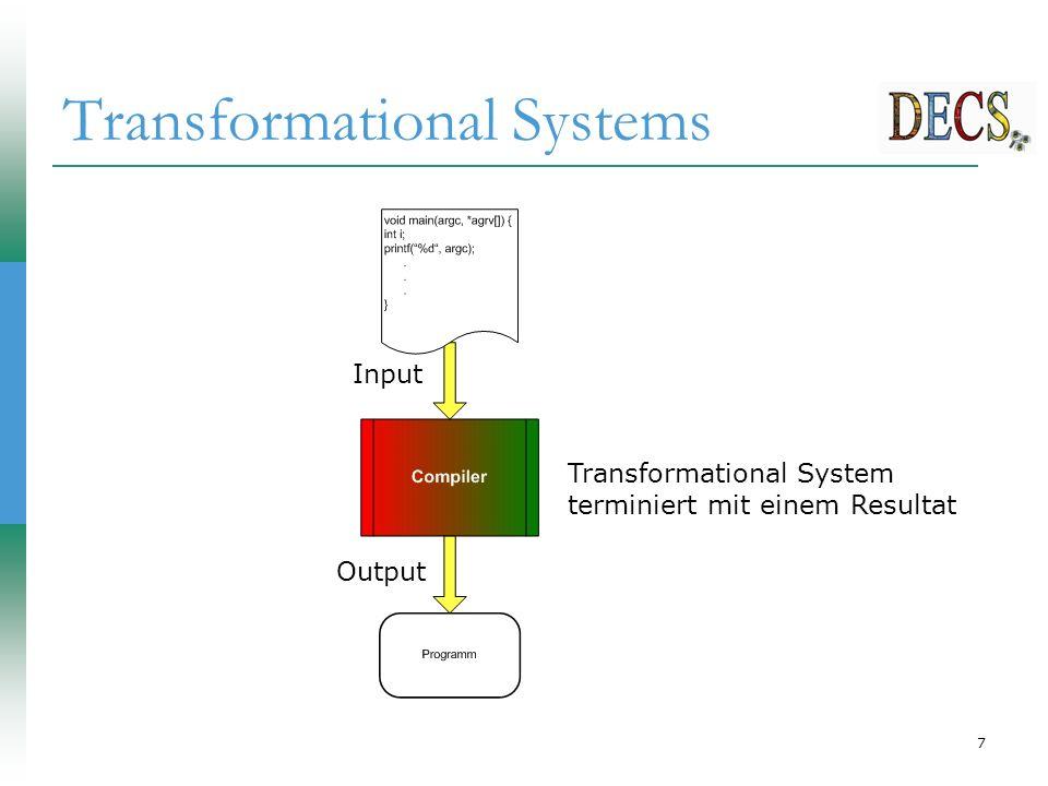 7 Transformational Systems Input Output Transformational System terminiert mit einem Resultat