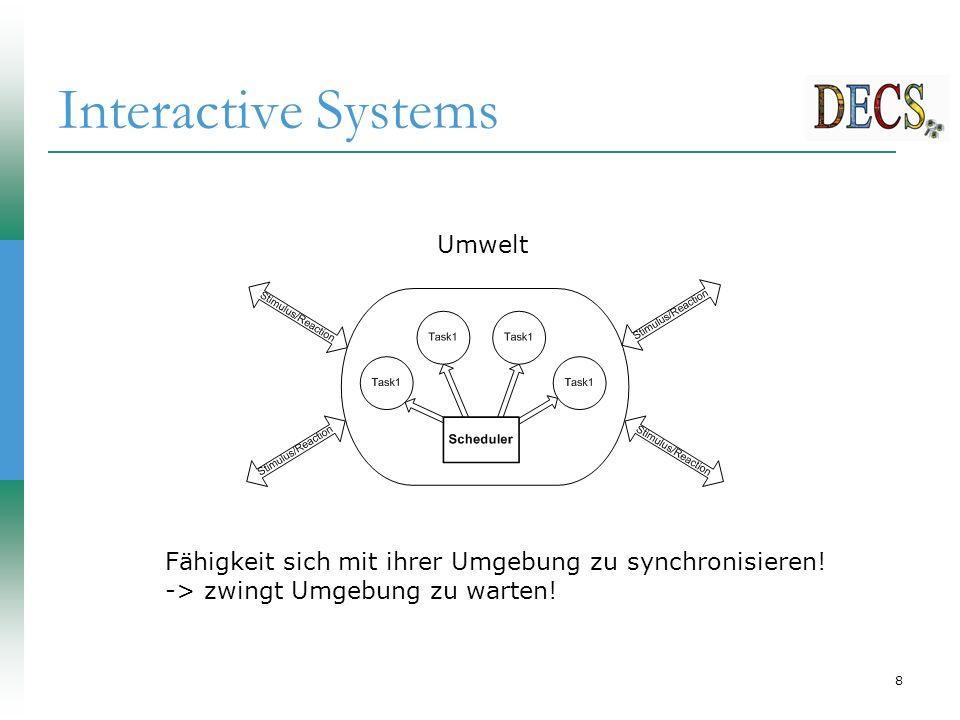 29 Schleifen  Esterel hat eine infinite Schleifenanweisung loop  Regel: Schleife kann nicht sofort terminieren (instantaneous loop)  Braucht mindestens eine pause , await , usw.