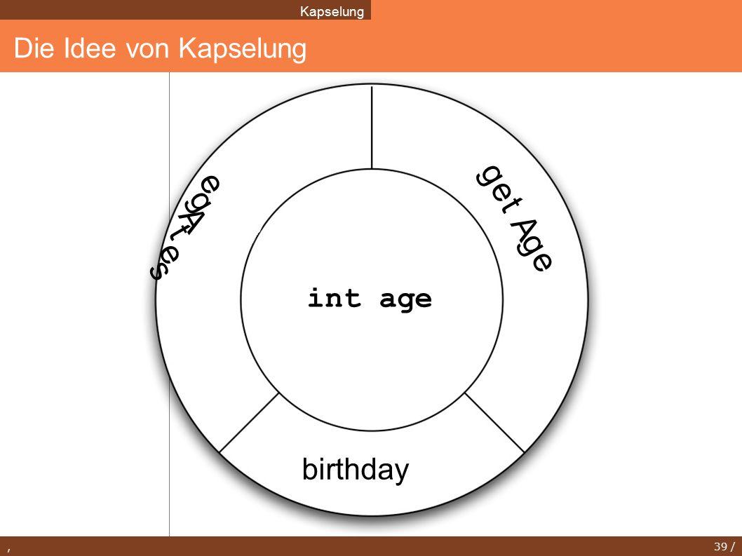 , 39 / Die Idee von Kapselung Kapselung int age birthday s e t A g e g e t A g e