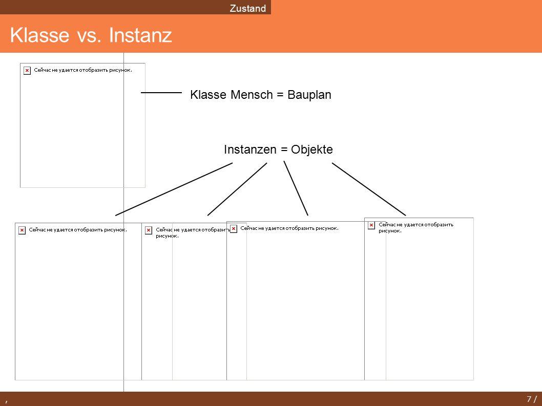 , 7 / Klasse vs. Instanz Zustand Klasse Mensch = Bauplan Instanzen = Objekte
