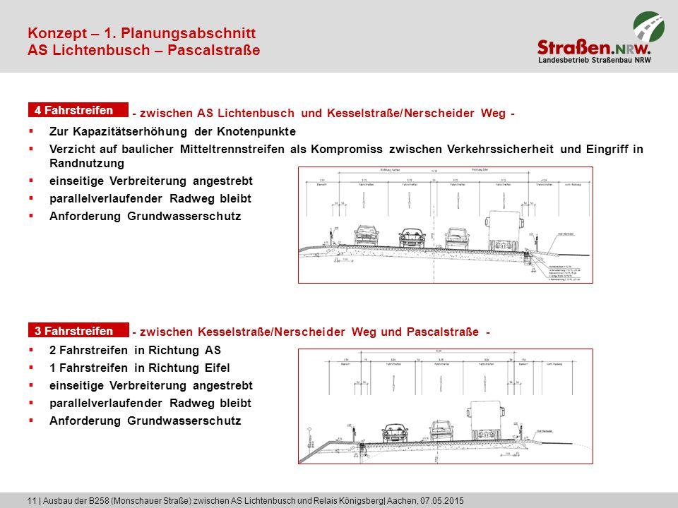 11 | Ausbau der B258 (Monschauer Straße) zwischen AS Lichtenbusch und Relais Königsberg| Aachen, 07.05.2015 Konzept – 1. Planungsabschnitt AS Lichtenb